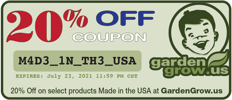 GardenGrow Coupon Made in the USA 20% OFF